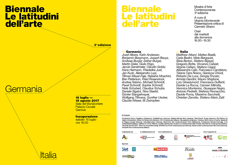 le latitudini dell arte, III edizione, germania, italia, palazzo ducale, genova, sala del munizioniere, virginia monteverde, carmelo strano, red stamp art gallery, francesco candeloro, armida gandini, christian zanotto, breed art studios, esther burger, amsterdam